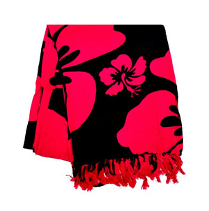 New Long Sarong - Black/Magenta
