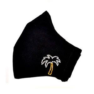 Rhinestone Fashion Face Mask - Palm Tree