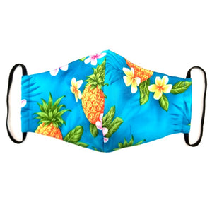 Poipu - pineapple Turquoise  Fashion Face Mask