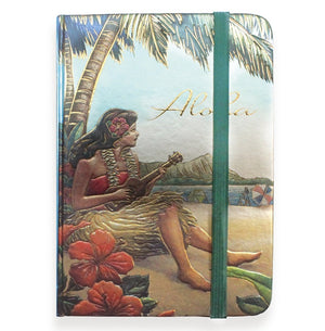 Foil Notebook with Elastic Band - Vintage Hawaii