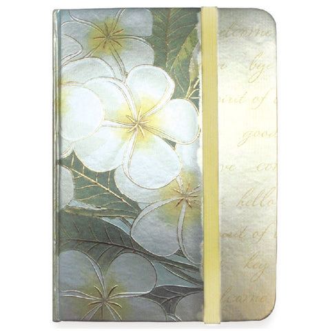 Foil Notebook with Elastic Band - Plumeria Notes