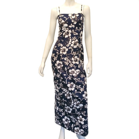 Classic Hibiscus Pareo Long Adjustable Strap Dress ~ Navy