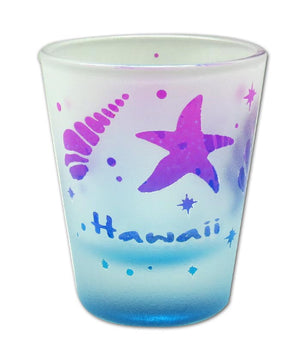 Etched Frosted Shot Glass - Shells Hawaii - 25032