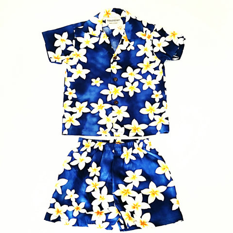 Plumeria Boys Cabana Set ~ Blue