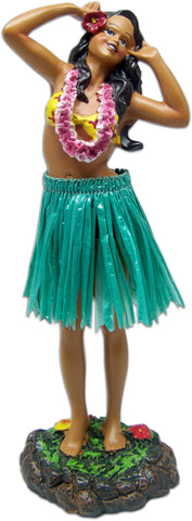 HULA GIRL SINGING LEILANI DASHBOARD DOLL - GREEN SKIRT