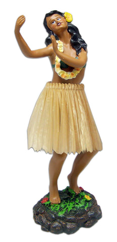 GIRL DANCING POSE LEILANI DASHBOARD DOLL - NATURAL SKIRT