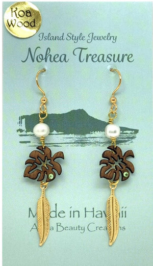 Nohea Treasure Koa Wood Earrings - Monstera