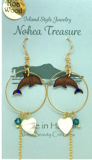 Nohea Treasure Koa Wood Earrings - Dolphin