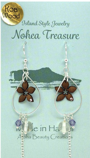 Nohea Treasure Koa Wood Earrings - Plumeria Gem