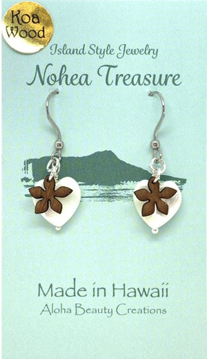 Nohea Treasure Koa Wood Earrings - Plumeria