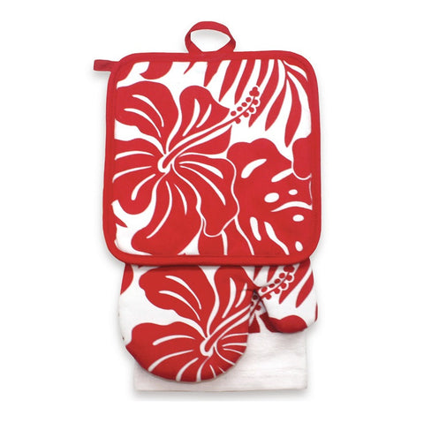 KITCHEN SET HIBISCUS FLORAL - RED