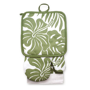 KITCHEN SET HIBISCUS FLORAL - GREEN