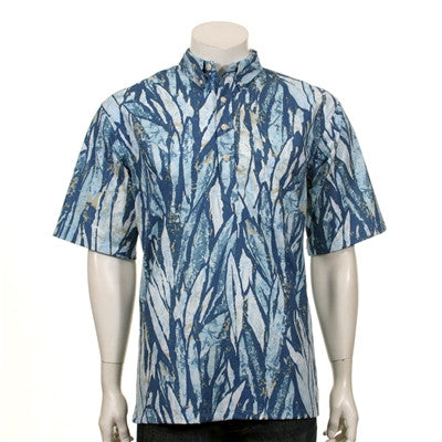 Abstract Rainforest Half Placket Aloha Shirt ~ Slate