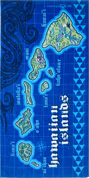 HAWAIIAN ISLANDS MAP BEACH TOWEL