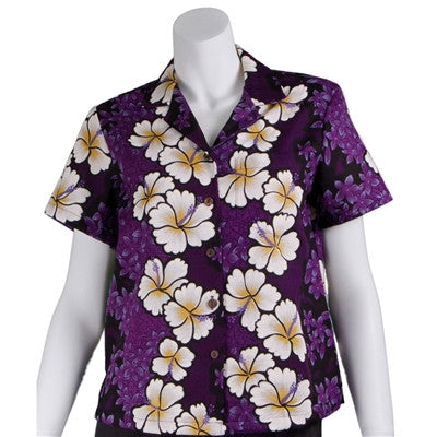 Purple Hibiscus Panel Crop Camp Blouse