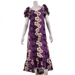 Purple Hibiscus Panel Ruffled Sleeve Karina Long Muu Muu