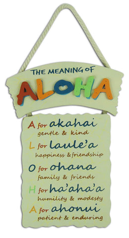 THE MEANING OF ALOHA - HAWAIIAN WOOD SIGN