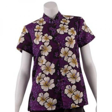 Purple Hibiscus Panel Mandarin Blouse