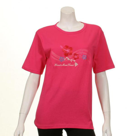 Womens Embroidery Hibiscus Map Tee