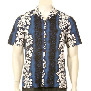 Hibiscus Pareo Panel Aloha Shirt ~ Blue