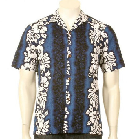 Hibiscus Pareo Panel Aloha Shirt ~ Navy
