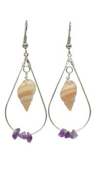 Burned Nasa Shell with Amethyst Earrings