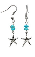 Starfish Charm Turquoise Chunk Bead Earrings
