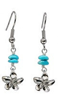 Plumeria Charm Turquoise Bead Earrings