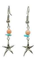 Starfish Charm Pink and Turquoise Bead Earrings