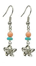 Plumeria Charm Pink and Turquoise Bead Earrings