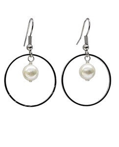 White Mother of Pearl Hoop Earrings