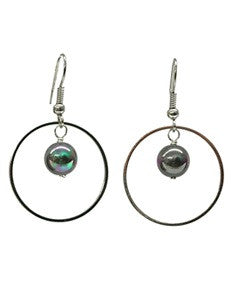 Black Mother of Pearl Hoop Earrings