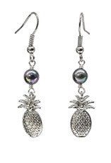 Pineapple Charm Black mother of Pearl Earrings