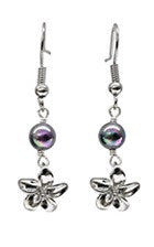 Plumeria Charm Black mother of Pearl Earrings