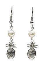 Pineapple Charm White Mother of Pearl Earrings