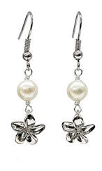 Plumeria Charm White Mother of Pearl Earrings