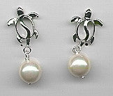 Honu Charm Pearl Earrings