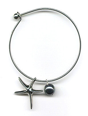 Black Mother of Pearl and Starfish Charm Bangle Bracelet