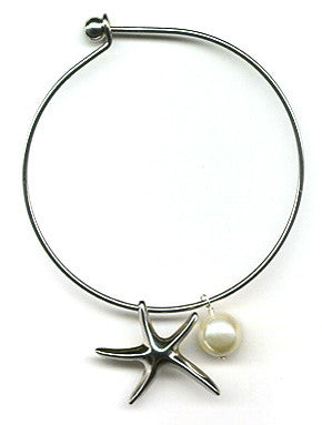 White Mother of Pearl and Starfish Charm Bangle Bracelet