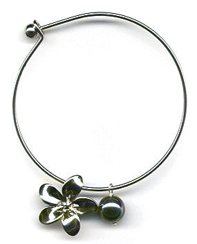 Black Mother of Pearl and Plumeria Charm Bangle Bracelet