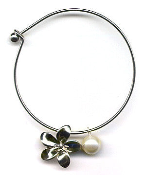 White Mother of Pearl and Plumeria Charm Bangle Bracelet