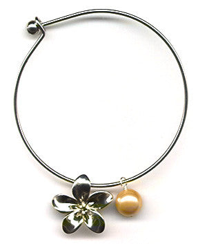 Golden Mother of Pearl and Plumeria Charm Bangle Bracelet