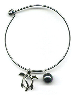 Black Mother of Pearl and Honu Charm Bangle Bracelet