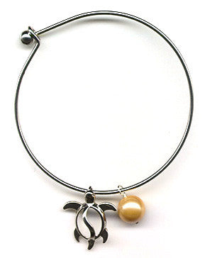 Golden Mother of Pearl and Honu Charm Bangle Bracelet