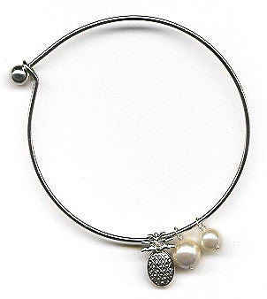 White Mother of Pearls and Pineapple Charm Bangle Bracelet