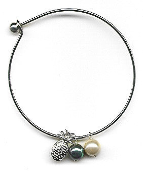 White and Black Mother of Pearls with Pineapple Charm Bangle Bracelet