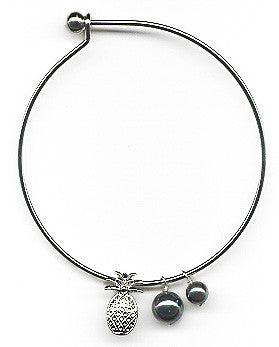 Black Mother of Pearls and Pineapple Charm Bangle Bracelet