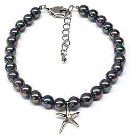 Black Mother of Pearl Starfish Charm Bracelet