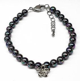 Black Mother of Pearl Plumeria Charm Bracelet
