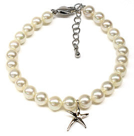 White Mother of Pearl Starfish Charm Bracelet